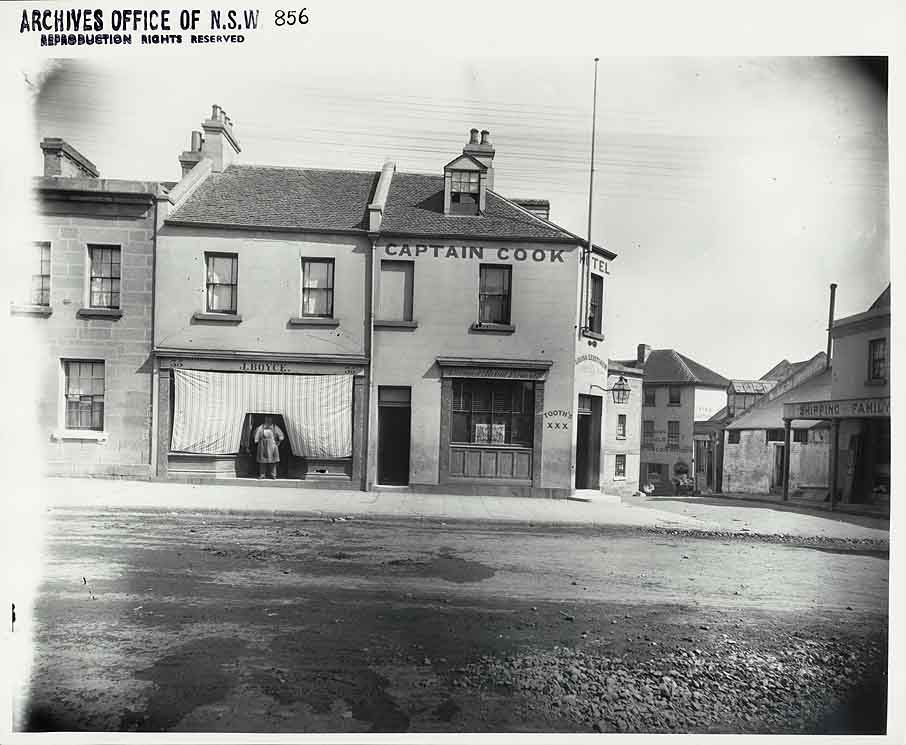 Captain Cook Hotel c1900 (it since took over the building on the left)