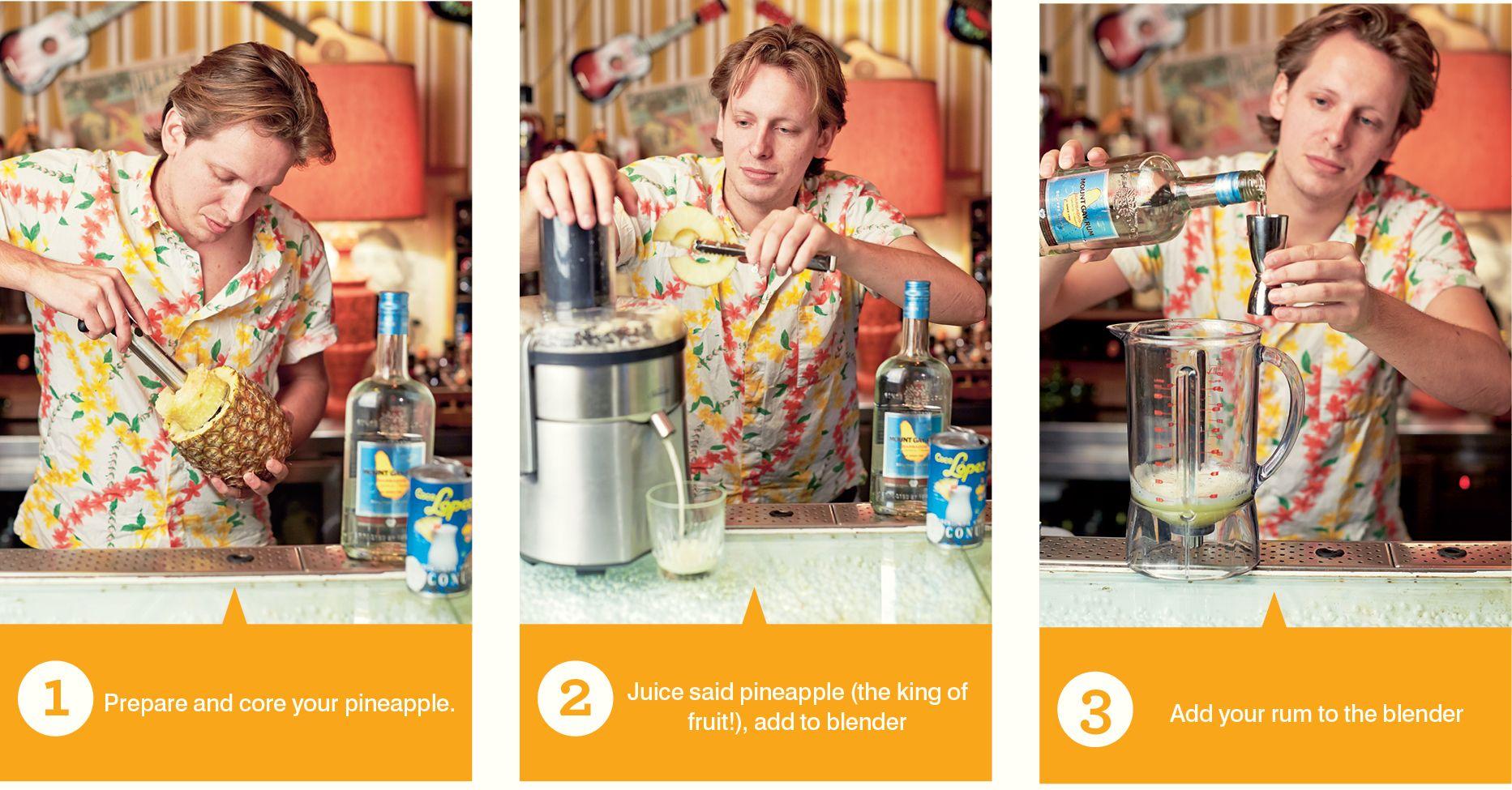 How To Pina Colada Steps 1-3