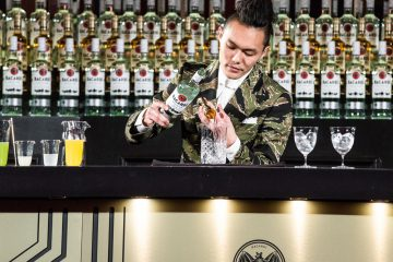 Gn Chan mixing his winning Bacardi Legacy drink
