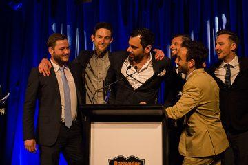 Ruiz, centre, at the 2014 Bartender Magazine Australian Bar Awards