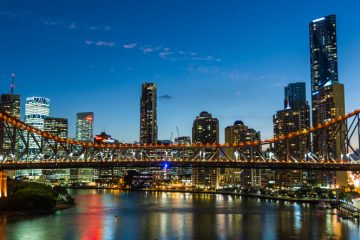 skyline of Brisbane at night