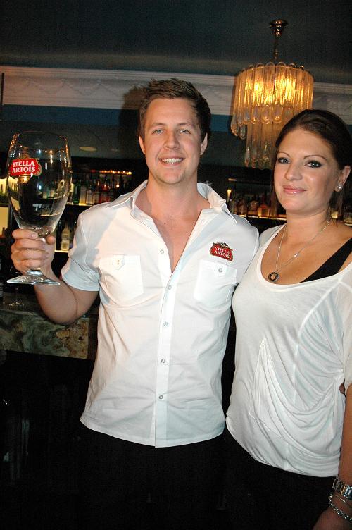 Winner Dylan Eisenhut and Stella Artois brand manager Sarah Campbell