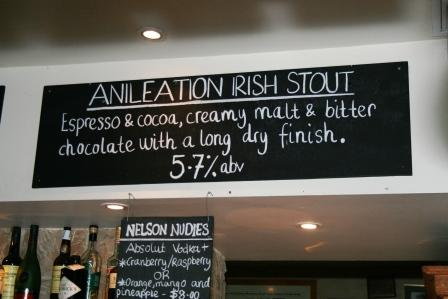 The weirdly spelt 'Anileation' Irish Stout at Sydney's Lord Nelson