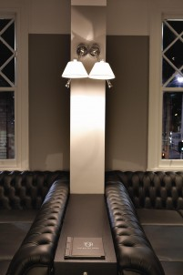 Galley's dark leather banquettes