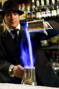 Sebastian Reaburn making a Blue Blazer at 1806 - named for the year in whcih the cocktail was first defined in print.