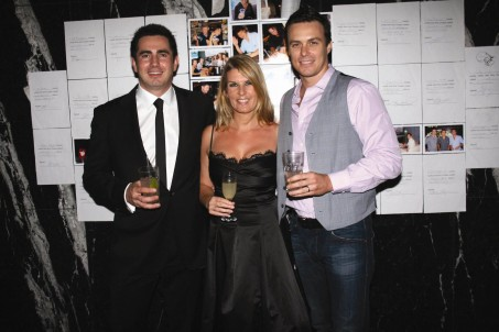 Simon, Amy and Bartender's David Spanton at the Parched March Wrap Party, 2010, Piano Room, Sydney