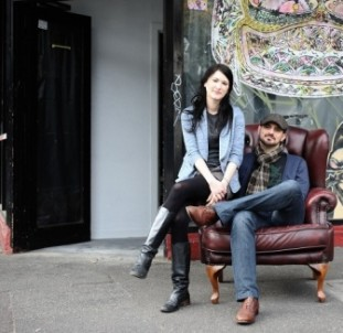 Michael Madrusan and Lauren Schell outside the recently opened Everleigh in Melbourne