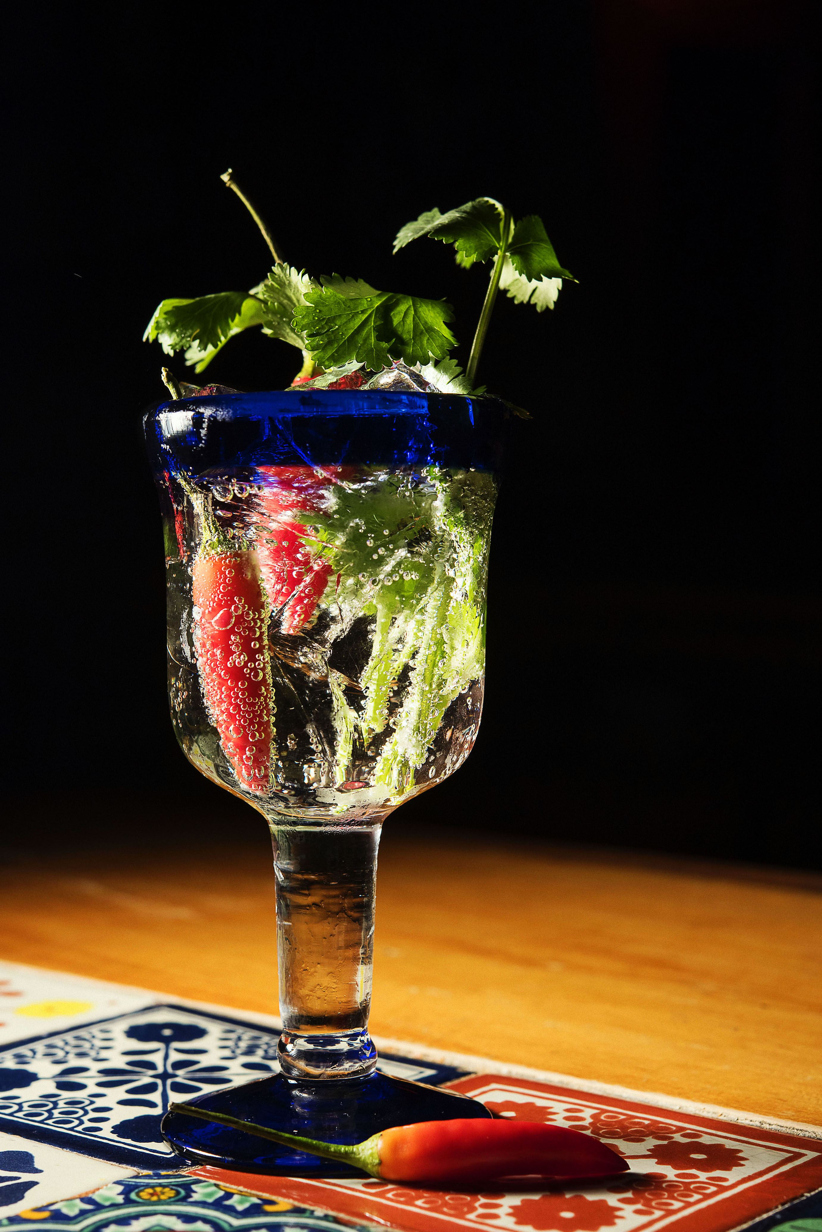 Ford's Gin with Bottle Green Elderflower Tonic Water, birds eye chilli and coriander_CP86301