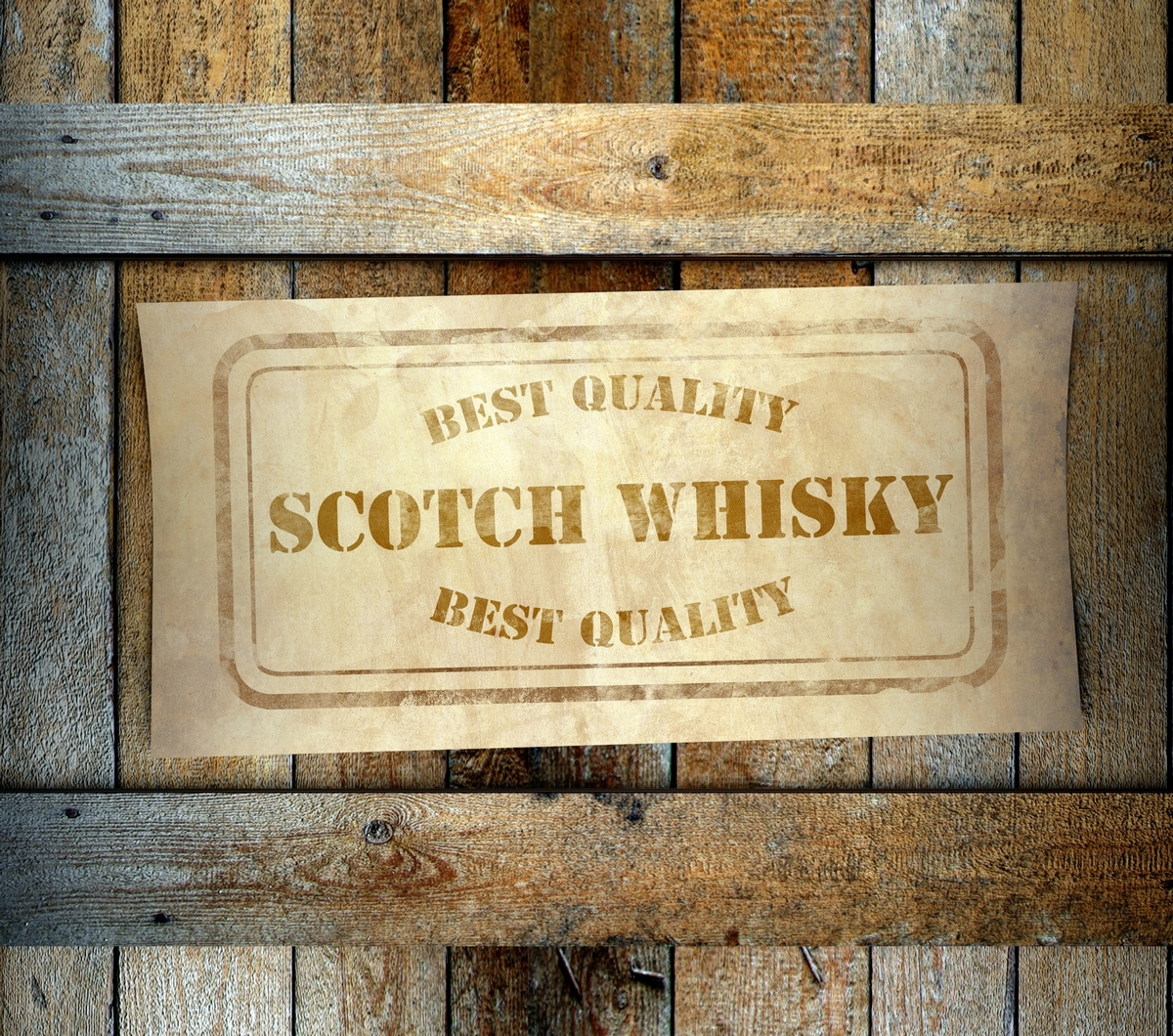 Stamp Best Quality Scotch Whisky Label Old Wooden Box