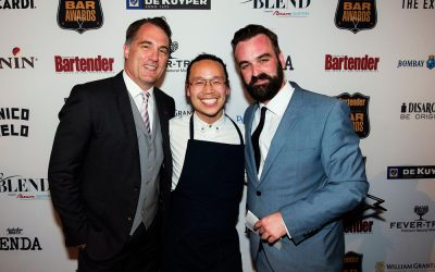 The Bartender of the Year Michael Chiem (middle) with Denis Brown of Bacardi-Martini (left) and Australian Bartender editor Sam Bygrave (right).