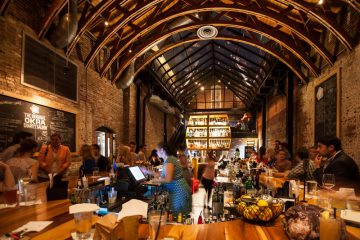 The OKRA Charity Saloon, a bar that donates 100 percent of its proceeds to charity, is located in downtown Houston's Historic Market Square.
