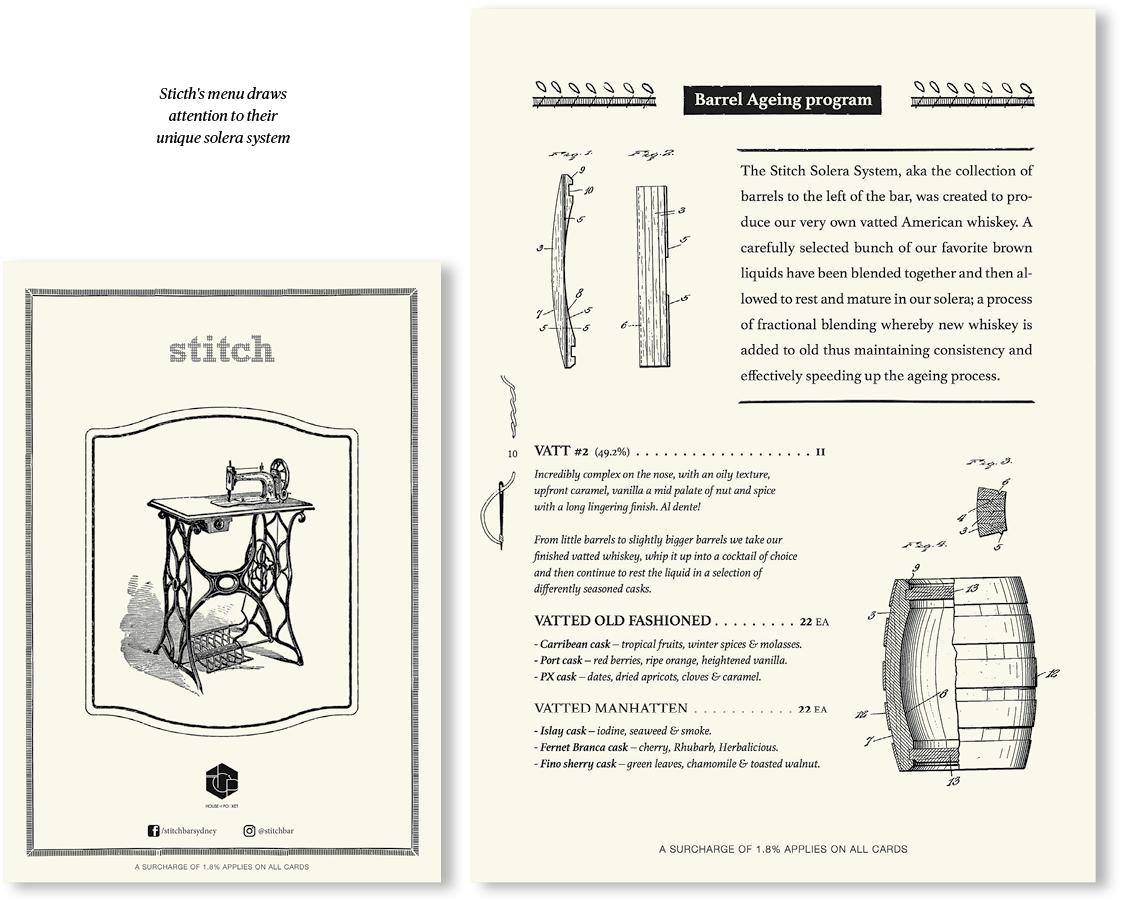 Sydney bar Stitch menu