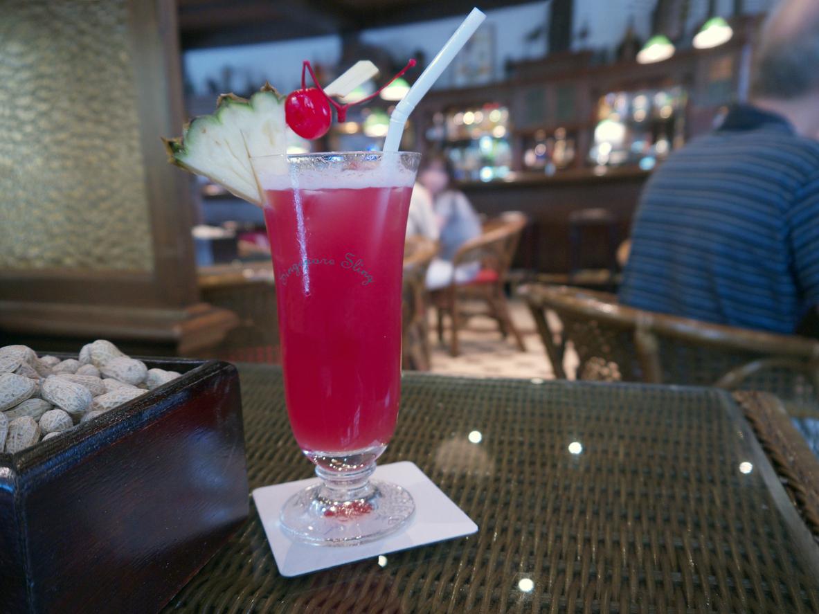 The Singapore Sling at Raffles' Long Bar.