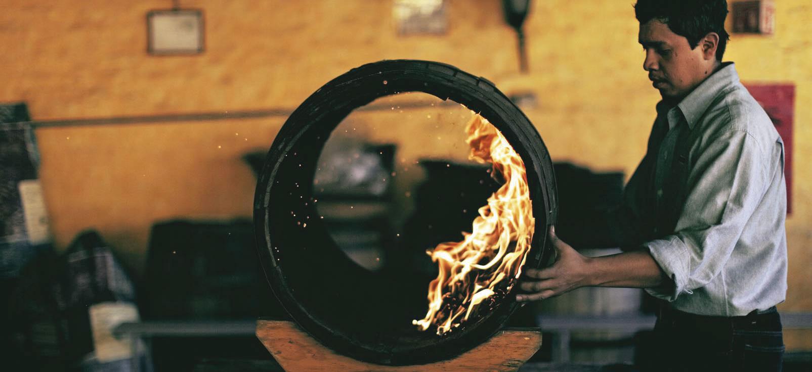 Barrel charring at Jose Cuervo.